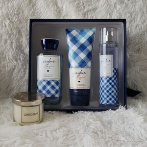 Gingham gift set and candle